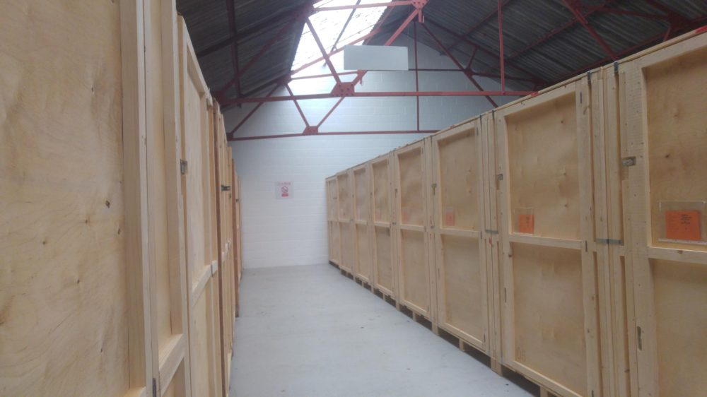 corridor of self storage units