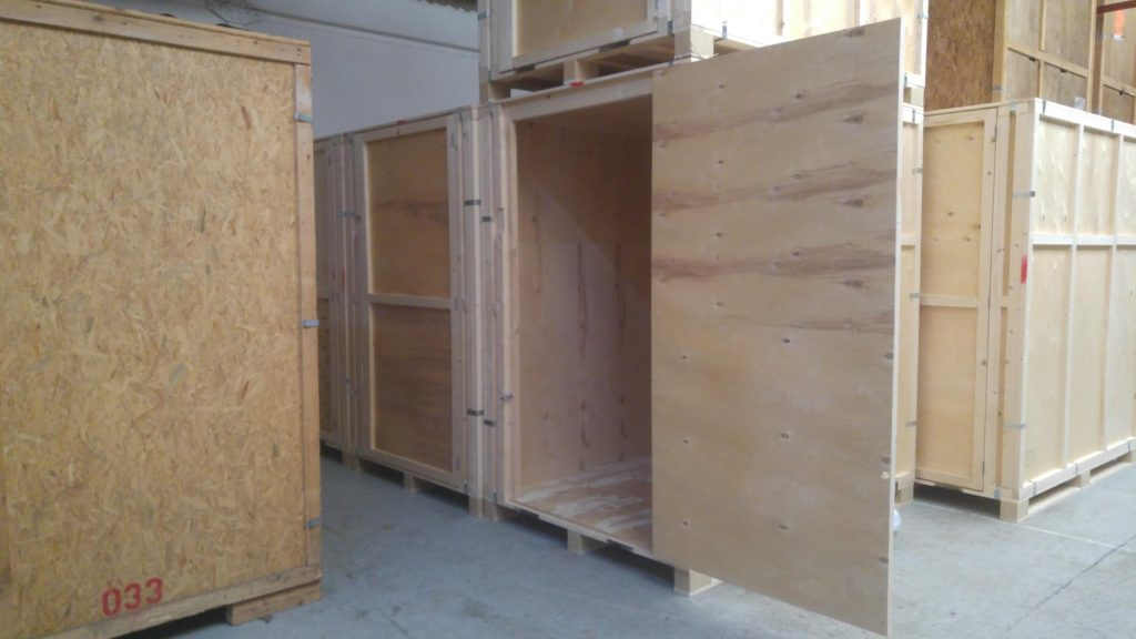 Medium sized self storage unit open and empty